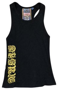 L.A.M.B. Top black with yellow embroidery