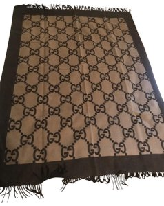Gucci Gucci Two Tone Brown Luxury Throw Blanket (NEW WITH BOX)