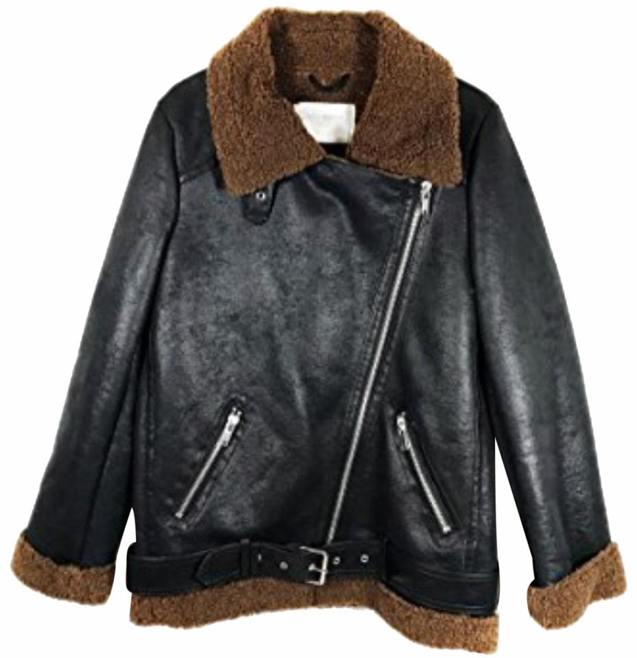 adceb9bb Zara Brown Black Tan Faux Shearling Faux Leather Moto Coat Jacket Size 2  (XS)