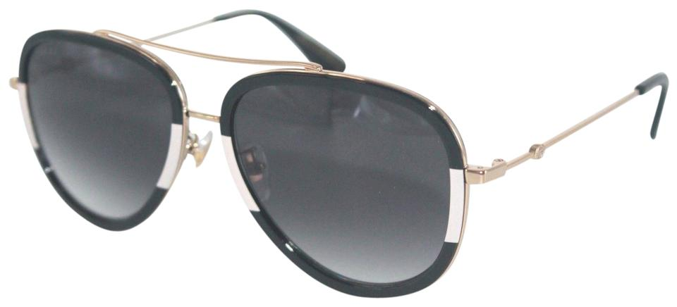 ea94290319c8e Gucci Gucci GG0062S 006 Black White Aviator Sunglasses NEW Image 0 ...