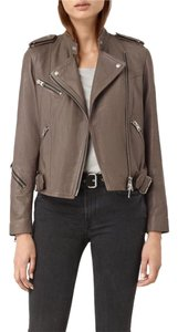 AllSaints battle brown Leather Jacket