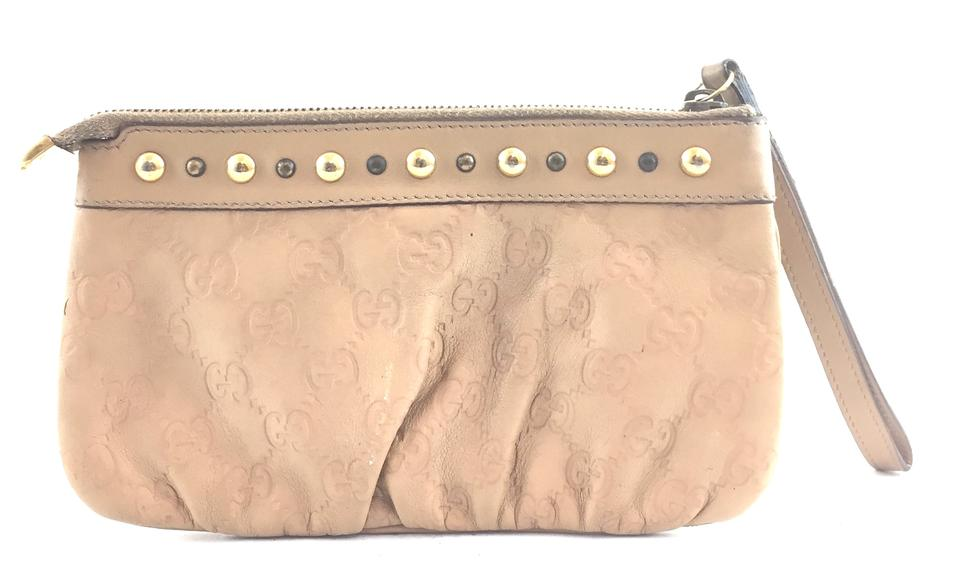 470dee7ea40 Gucci Guccissima Logo Pochette Pouch Cosmetic Coin Card Bill Case Purse   16719 Beige Leather Clutch