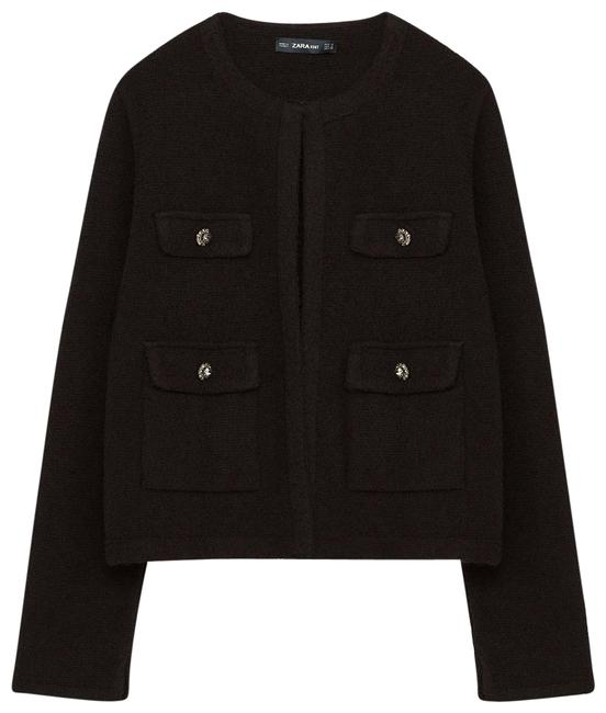 Preload https://img-static.tradesy.com/item/22876767/zara-black-boucle-knit-open-textured-cardigan-w-crystal-buttons-spring-jacket-size-petite-12-l-0-1-650-650.jpg