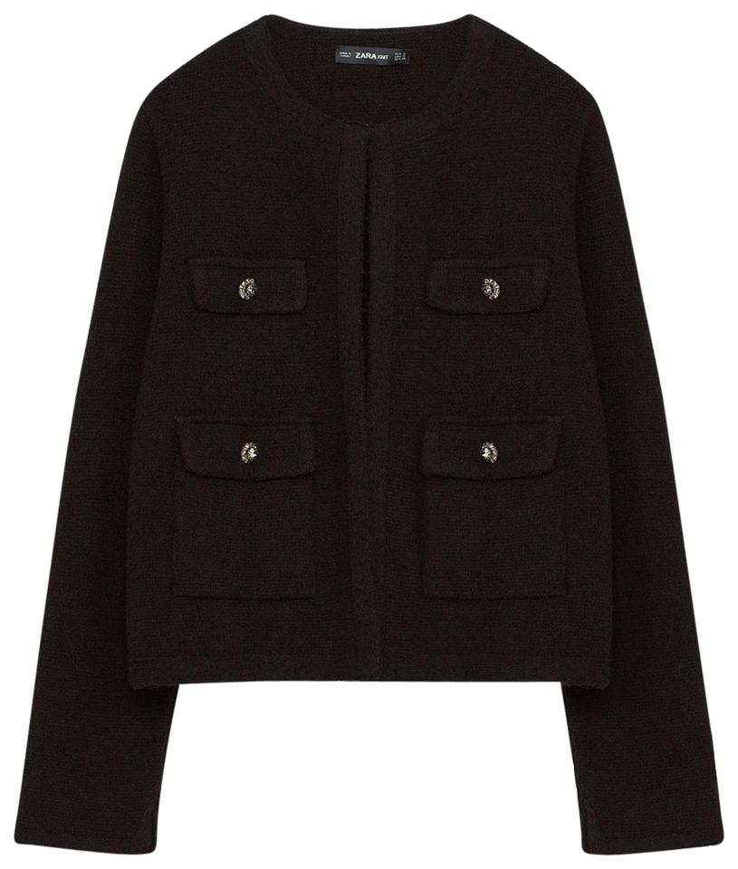 392297b5 Zara Black Boucle Knit Open Textured Cardigan W Crystal Buttons ...
