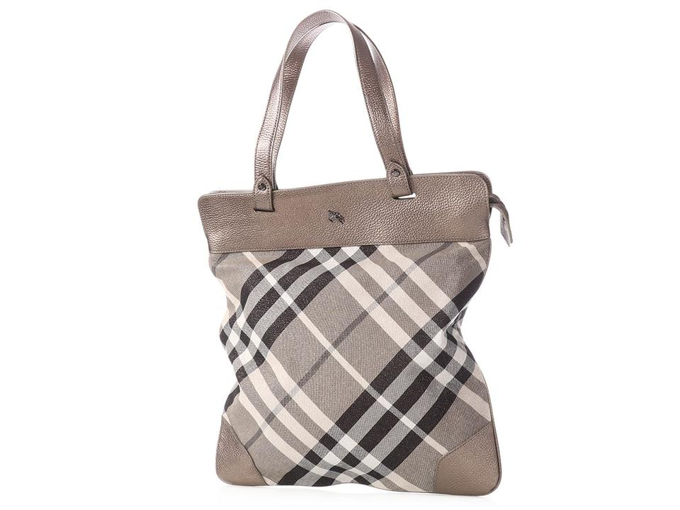 Burberry Nova Check Shimmer Pewter Silver Leather Tote - Tradesy df9c80eceab82