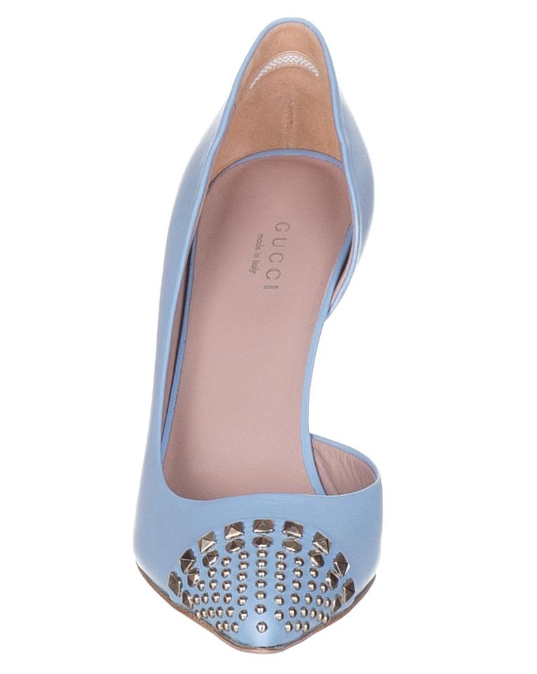4bc86f022 Gucci Mineral Blue Women's Leather Studded Stiletto Heels Pumps Size ...