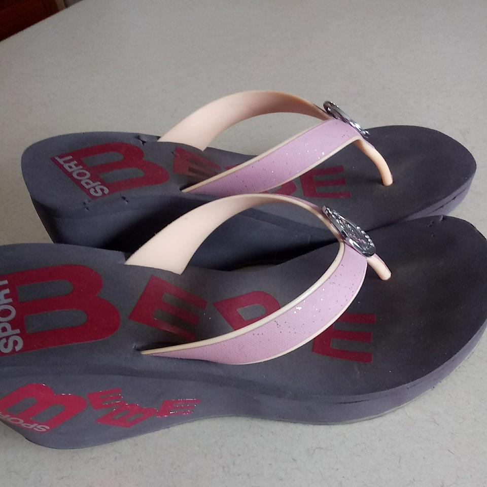 f78be50964 Bebe Sport Brown/Black Base with Pink Straps Wedge Sandals Size US 8 ...