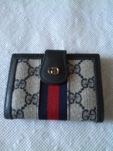 Gucci navy blue leather red blue webbing gg coated canvas business gucci gucci gg wallet business card holder rare find colourmoves