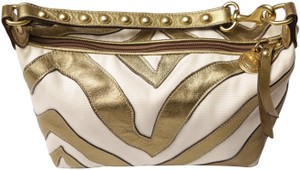 Coach Studded Leather Bronze on cream white canvas Clutch