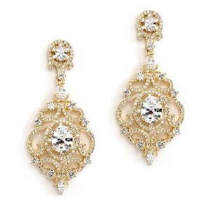 Mariell Gold Victorian Scrolls 14k Plated Cubic Zirconia Chandelier 4553e-g Earrings