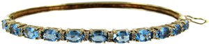Other 14kt Yellow Gold Diamond and Blue Topaz Bangle
