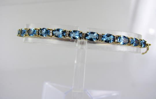 Other 14kt Yellow Gold Diamond and Blue Topaz Bangle Image 2