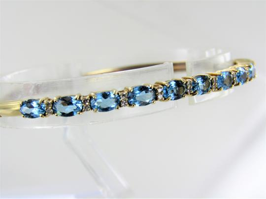 Other 14kt Yellow Gold Diamond and Blue Topaz Bangle Image 3
