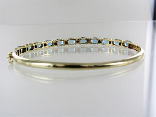 Other 14kt Yellow Gold Diamond and Blue Topaz Bangle Image 4