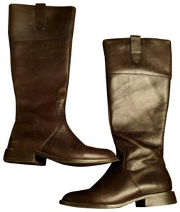 Italian Shoemakers Equestrian Size 8.5 Leather Tall New Brown Boots