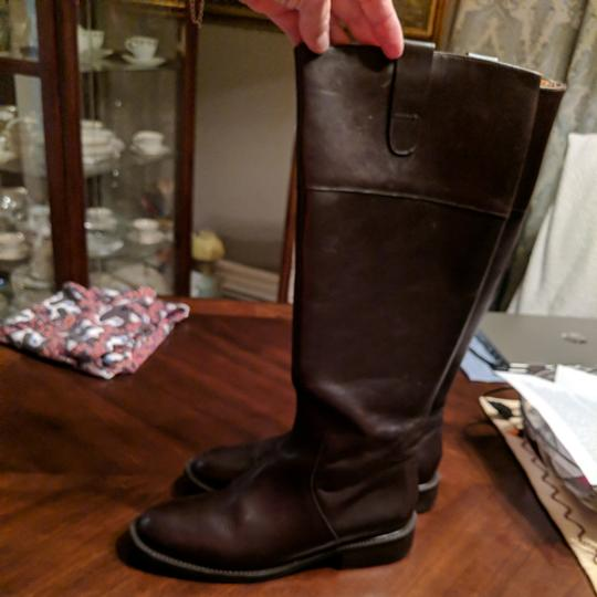 Italian Shoemakers Equestrian Size 8.5 Leather Tall New Brown Boots Image 10