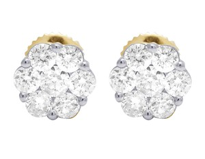 Jewelry Unlimited 10K Yellow Gold Round Cluster Flower Diamond Stud Earrings 1.50 CT 9MM