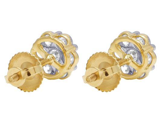 Jewelry Unlimited 10K Yellow Gold Round Cluster Flower Diamond Stud Earrings 1.50 CT 9MM Image 1