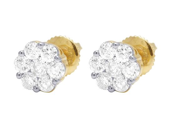 Jewelry Unlimited 10K Yellow Gold Round Cluster Flower Diamond Stud Earrings 1.50 CT 9MM Image 4