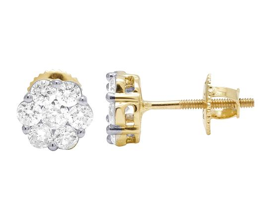 Jewelry Unlimited 10K Yellow Gold Round Cluster Flower Diamond Stud Earrings 1.50 CT 9MM Image 5