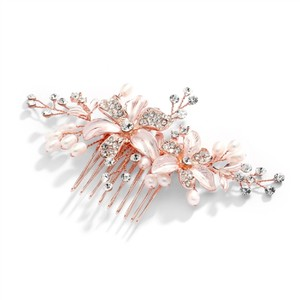 Mariell Rose Gold Brushed Floral Comb with Freshwater Pearls Crystals3578hc-rg Hair Accessory