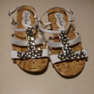 Two Lips White straps faux cork soles Sandals