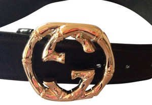 Gucci Gucci black leather belt brass bamboo buckle size 36
