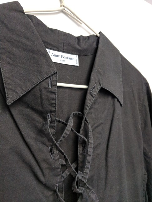 Anne Fontaine Made In France Lace Up Top black cotton Image 1