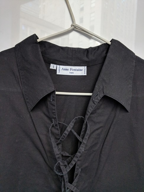 Anne Fontaine Made In France Lace Up Top black cotton Image 11