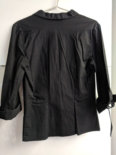 Anne Fontaine Made In France Lace Up Top black cotton Image 7