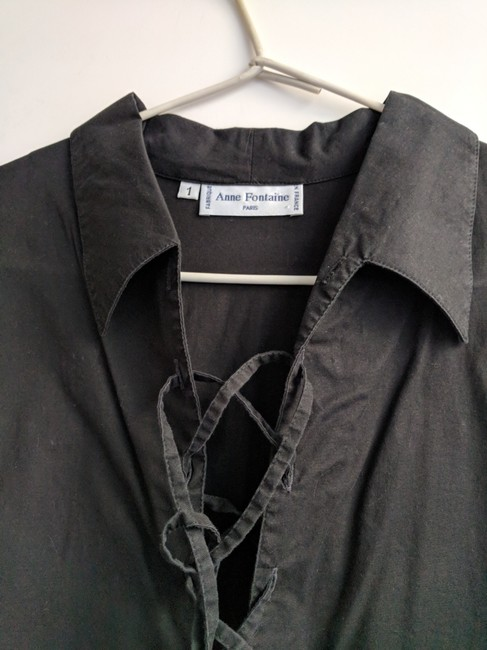 Anne Fontaine Made In France Lace Up Top black cotton Image 8