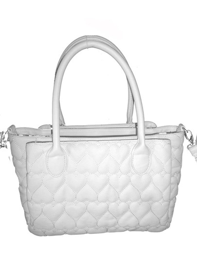 Betsey Johnson Quilted Hearts Fabric Pom Poms Satchel/Xbody Wallet Satchel in white Image 2