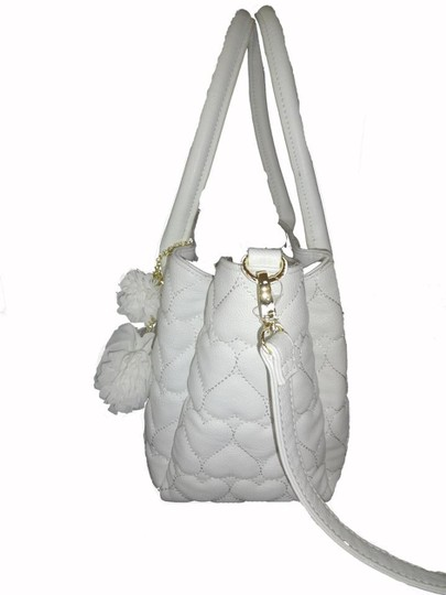 Betsey Johnson Quilted Hearts Fabric Pom Poms Satchel/Xbody Wallet Satchel in white Image 3