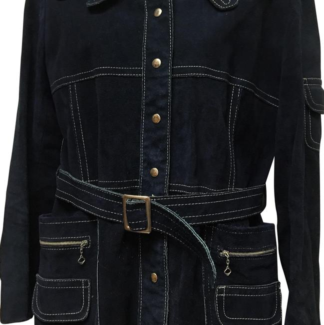 Preload https://img-static.tradesy.com/item/22877359/vintage-blue-suede-white-stitch-metal-ornate-jacket-size-os-one-size-0-1-650-650.jpg