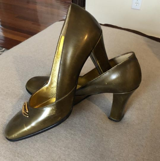 Christian Lacroix Vintage Leather Gold Metallic Pumps Image 1