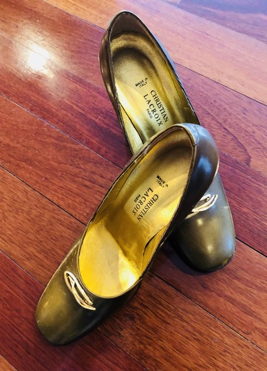 Christian Lacroix Vintage Leather Gold Metallic Pumps Image 2