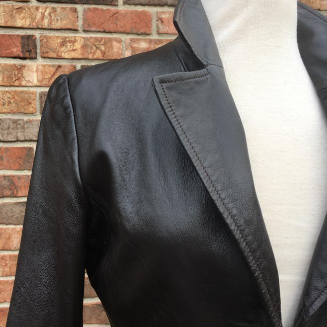 Old Navy Longsleeve Notched Collar Fitted Leather Jacket Image 1