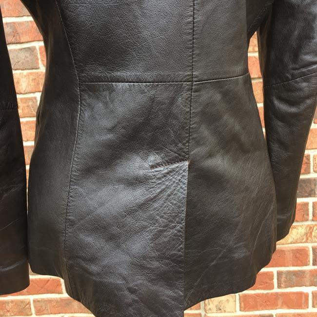Old Navy Longsleeve Notched Collar Fitted Leather Jacket Image 4