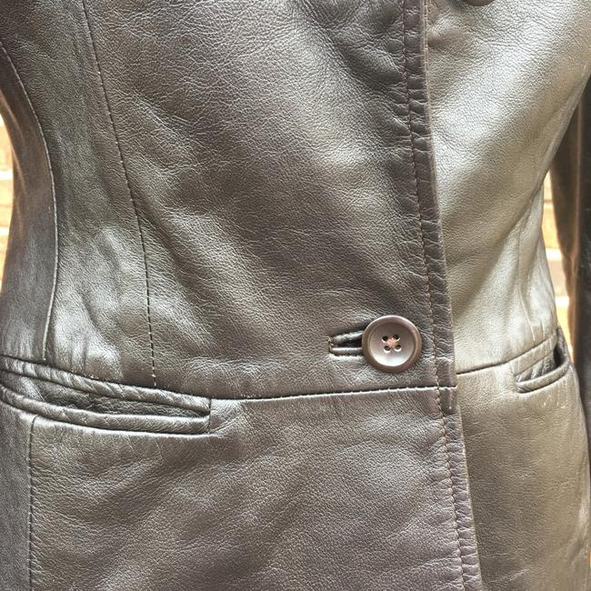 Old Navy Longsleeve Notched Collar Fitted Leather Jacket Image 5