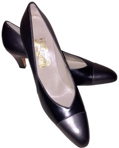 Salvatore Ferragamo Gunmetal & Black Pumps