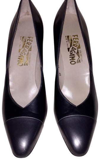 Salvatore Ferragamo Gunmetal & Black Pumps Image 1