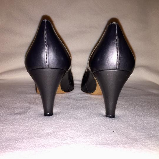 Salvatore Ferragamo Gunmetal & Black Pumps Image 4