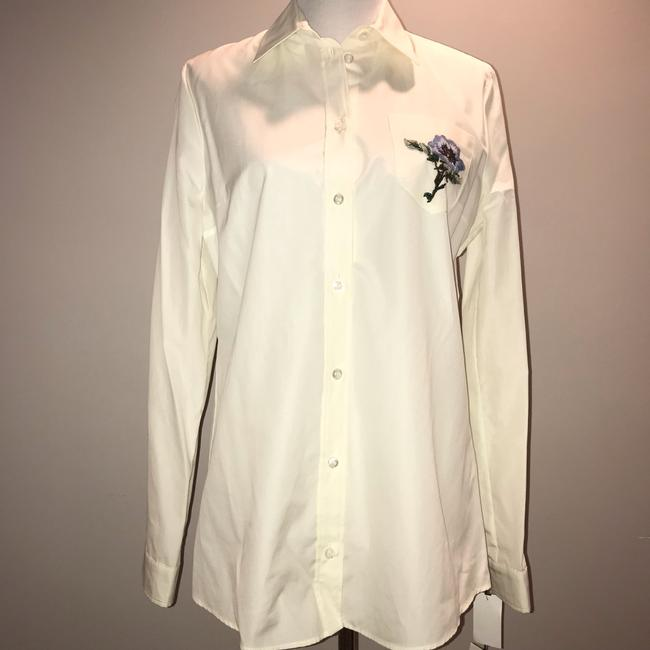 Gucci Blouse Embroidered Button Down Shirt White Image 1