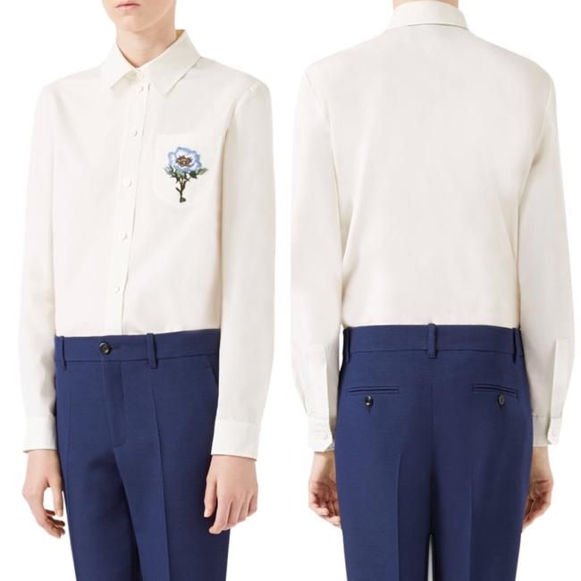 Gucci Blouse Embroidered Button Down Shirt White Image 2