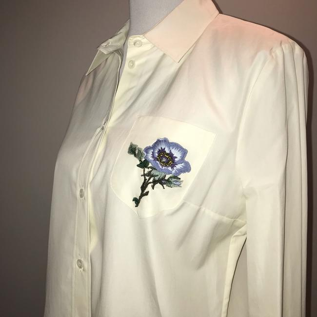 Gucci Blouse Embroidered Button Down Shirt White Image 3