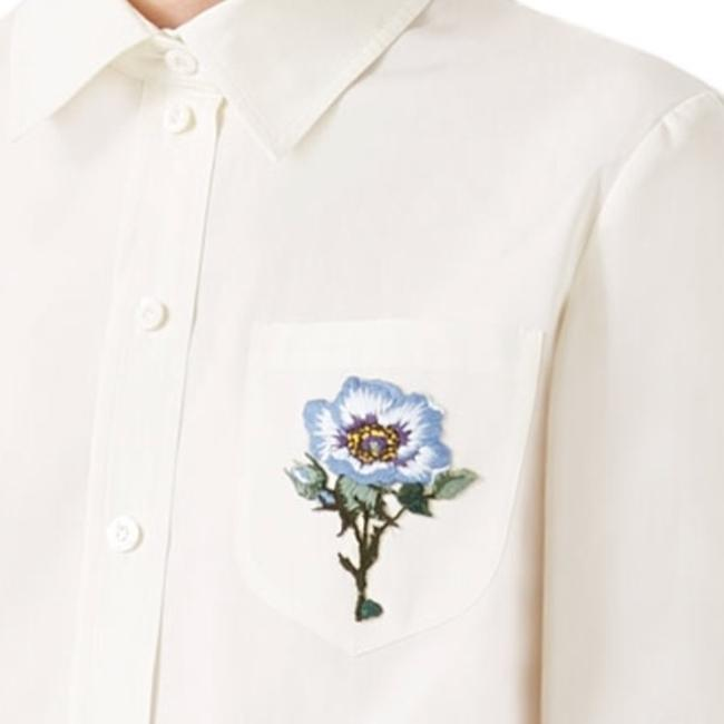 Gucci Blouse Embroidered Button Down Shirt White Image 4