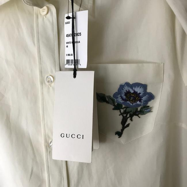Gucci Blouse Embroidered Button Down Shirt White Image 5