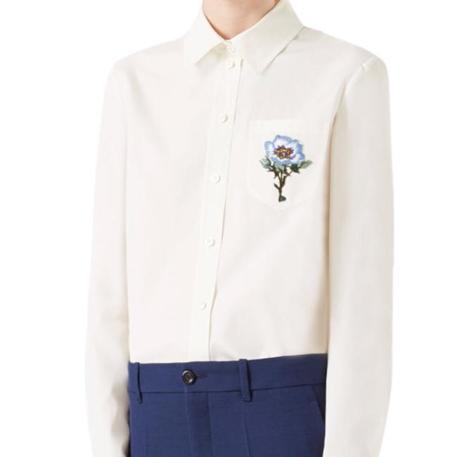 Gucci Blouse Embroidered Button Down Shirt White Image 6