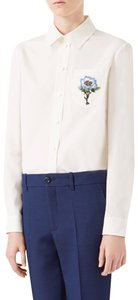 Gucci Blouse Embroidered Button Down Shirt White
