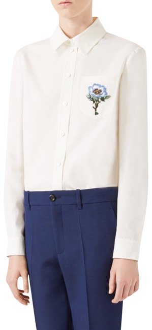 Preload https://img-static.tradesy.com/item/22877691/gucci-white-embroidered-flower-vintage-70-s-ss17-blouse-button-down-top-size-8-m-0-1-650-650.jpg